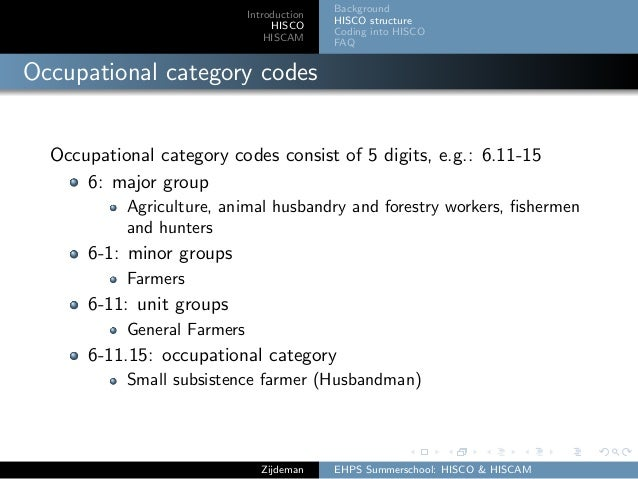 Introduction HISCO HISCAM Background HISCO structure Coding into HISCO FAQ Occupational category codes Occupational catego...