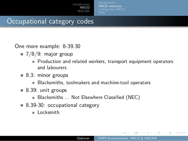 Introduction HISCO HISCAM Background HISCO structure Coding into HISCO FAQ Occupational category codes One more example: 8...