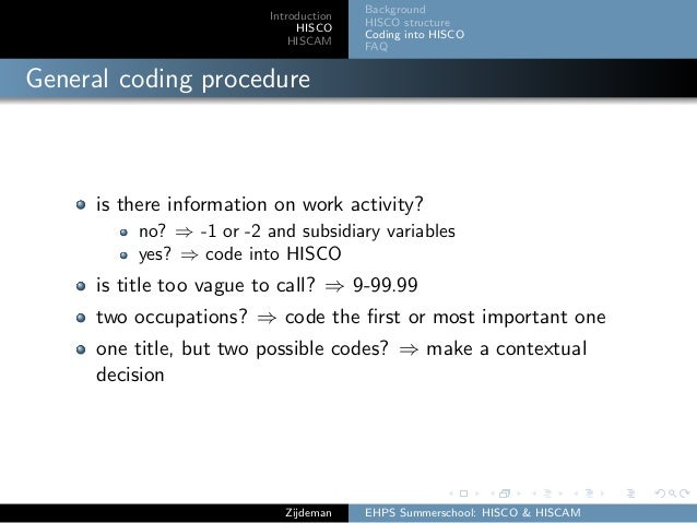 Introduction HISCO HISCAM Background HISCO structure Coding into HISCO FAQ General coding procedure is there information o...