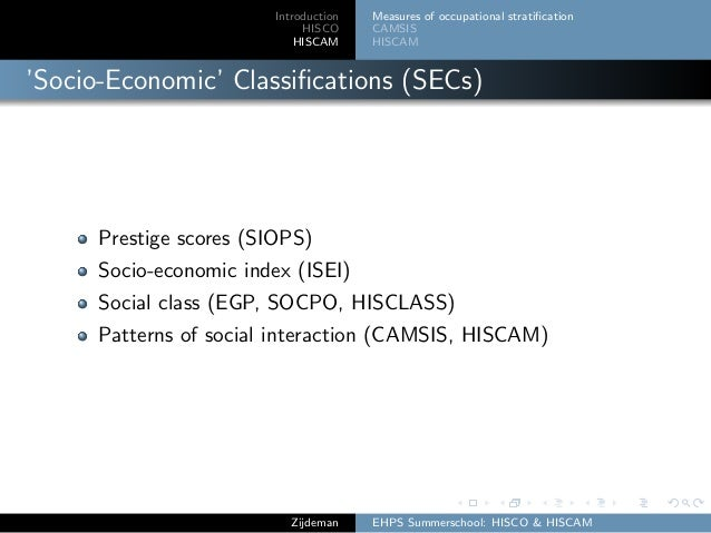 Introduction HISCO HISCAM Measures of occupational stratification CAMSIS HISCAM 'Socio-Economic' Classifications (SECs) Pres...