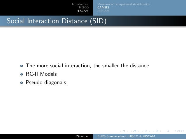 Introduction HISCO HISCAM Measures of occupational stratification CAMSIS HISCAM Social Interaction Distance (SID) The more ...