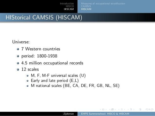 Introduction HISCO HISCAM Measures of occupational stratification CAMSIS HISCAM HIStorical CAMSIS (HISCAM) Universe: 7 West...