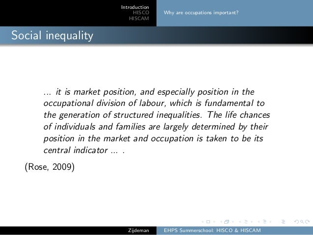 Introduction HISCO HISCAM Why are occupations important? Social inequality ... it is market position, and especially posit...