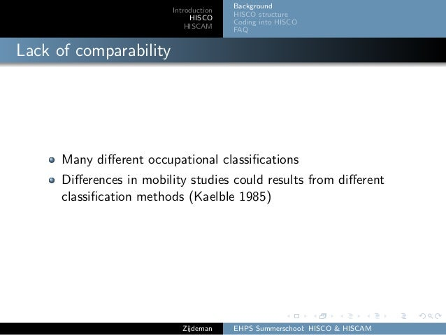 Introduction HISCO HISCAM Background HISCO structure Coding into HISCO FAQ Lack of comparability Many different occupationa...