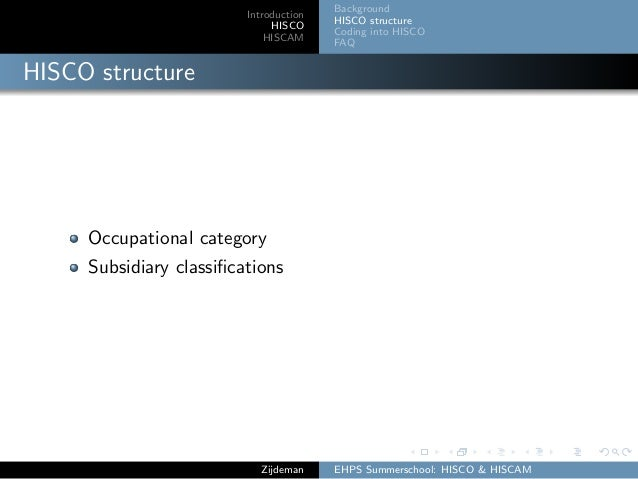 Introduction HISCO HISCAM Background HISCO structure Coding into HISCO FAQ HISCO structure Occupational category Subsidiar...