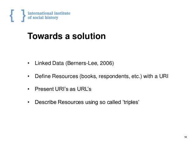 Towards a solution • Linked Data (Berners-Lee, 2006) • Define Resources (books, respondents, etc.) with a URI • Present UR...