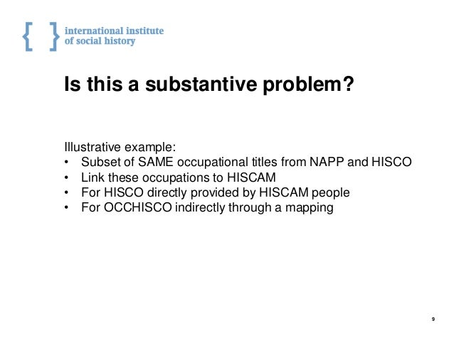 Is this a substantive problem? Illustrative example: • Subset of SAME occupational titles from NAPP and HISCO • Link these...