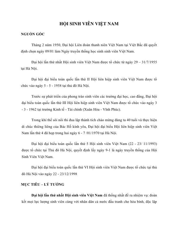 HỘI SINH VIÊN VIỆT NAM  NGUỒN GỐC        Tháng 2 năm 1950, Đại hội Liên đoàn thanh niên Việt Nam tại Việt Bắc đã quyết địn...