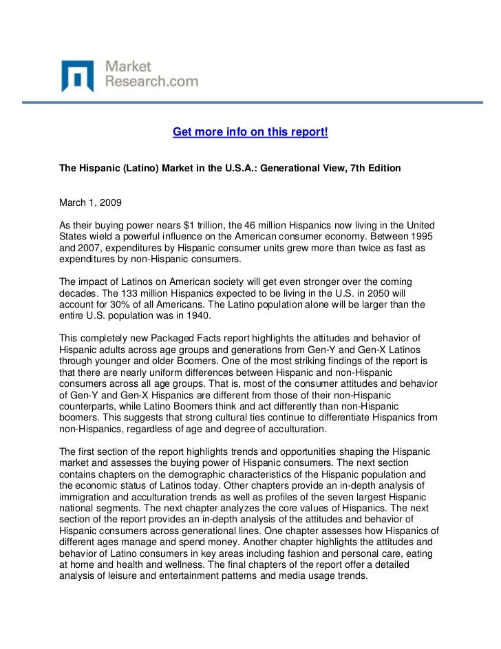 Get more info on this report!The Hispanic (Latino) Market in the U.S.A.: Generational View, 7...
