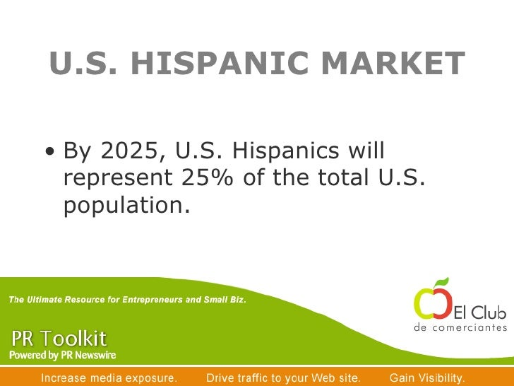 U.S. HISPANIC MARKET <ul><li>By 2025, U.S. Hispanics will represent 25% of the total U.S. population. </li></ul>