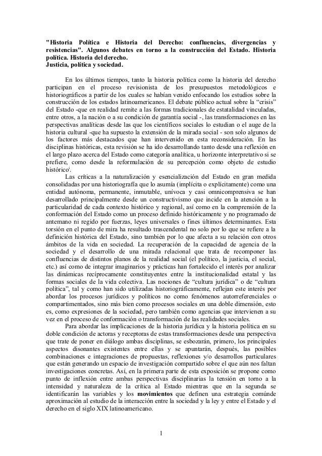 """""""Historia Política e Historia del Derecho: confluencias, divergencias y resistencias"""". Algunos debates en torno a la const..."""
