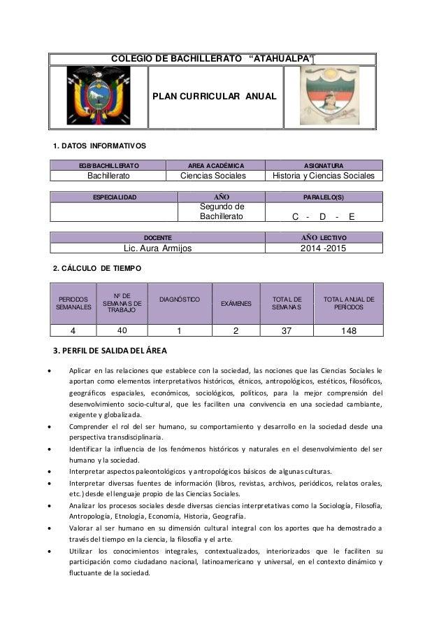 """COLEGIO DE BACHILLERATO """"ATAHUALPA""""  PLAN CURRICULAR ANUAL  1. DATOS INFORMATIVOS  EGB/BACHILLERATO AREA ACADÉMICA ASIGNAT..."""