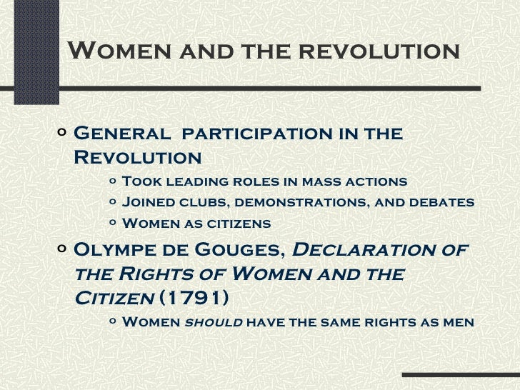 women in the french revolution thesis A thesis presented in partial fulfillment of the requirements for completion   french women publicly placed on the national assembly building in conjunction   the past 225 years, beginning with the french revolution, one of the most  pivotal.