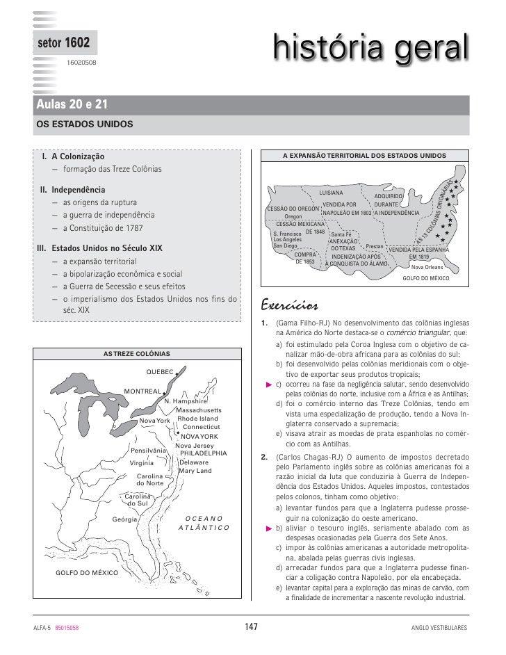 setor 1602           16020508Aulas 20 e 21OS ESTADOS UNIDOS  I. A Colonização                                             ...