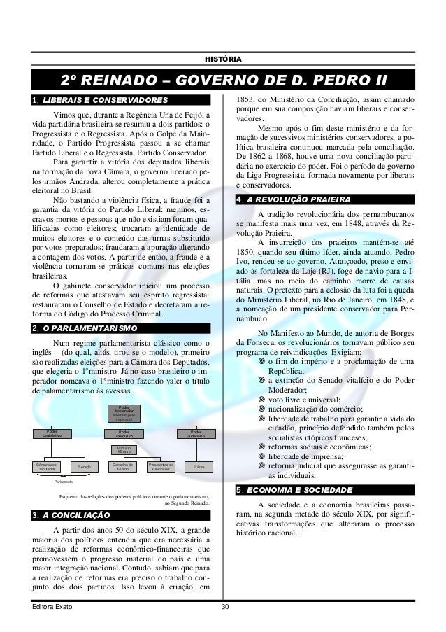 HISTÓRIA              2º REINADO – GOVERNO DE D. PEDRO II1. LIBERAIS E CONSERVADORES                                      ...