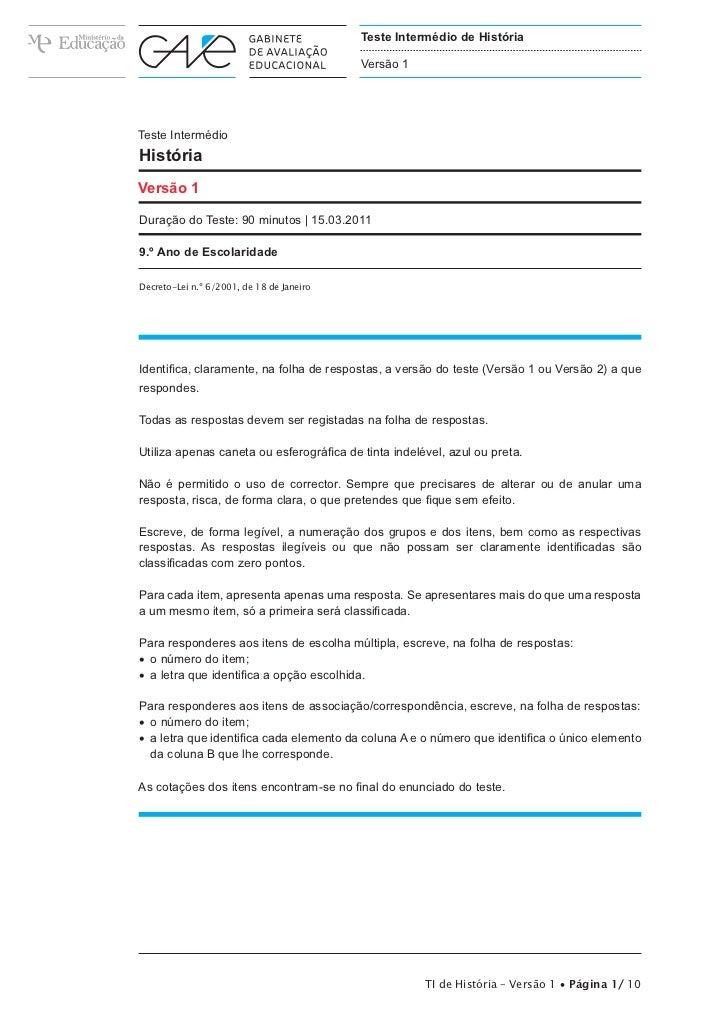 Teste Intermédio de História                                           Versão 1Teste IntermédioHistóriaVersão 1Duração do ...