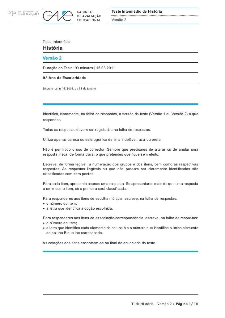 Teste Intermédio de História                                           Versão 2Teste IntermédioHistóriaVersão 2Duração do ...