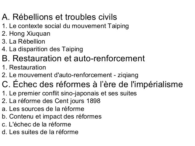 A. Rébellions et troubles civils 1. Le contexte social du mouvement Taiping 2. Hong Xiuquan 3. La Rébellion 4. La disparit...