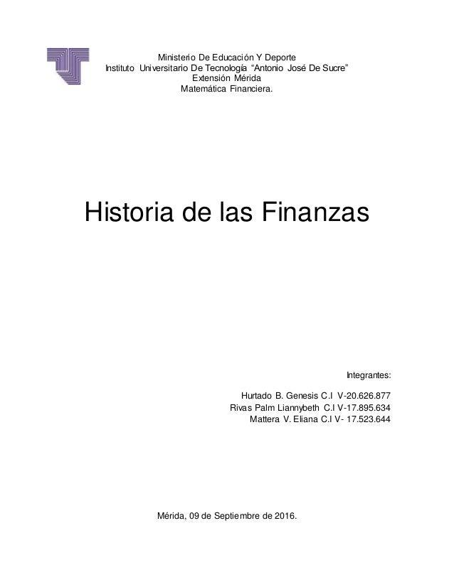 """Ministerio De Educación Y Deporte Instituto Universitario De Tecnología """"Antonio José De Sucre"""" Extensión Mérida Matemátic..."""