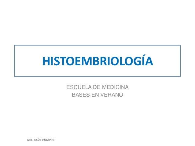 HISTOEMBRIOLOGÍA ESCUELA DE MEDICINA BASES EN VERANO MB. JESÚS HUMPIRI
