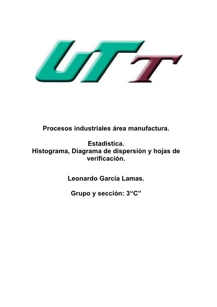Procesos industriales área manufactura.                 Estadística.Histograma, Diagrama de dispersión y hojas de         ...