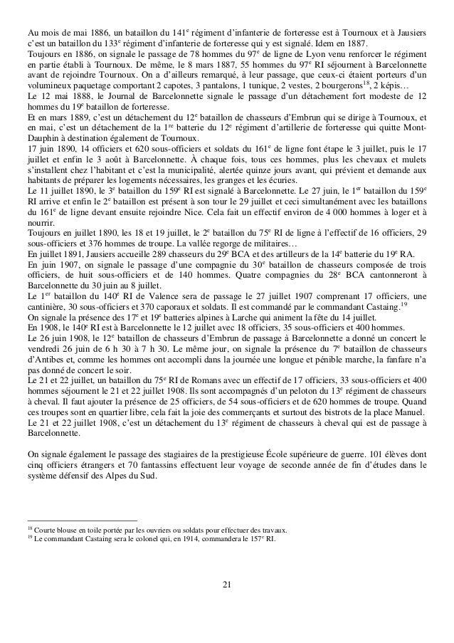 21 Au mois de mai 1886, un bataillon du 141e régiment d'infanterie de forteresse est à Tournoux et à Jausiers c'est un bat...