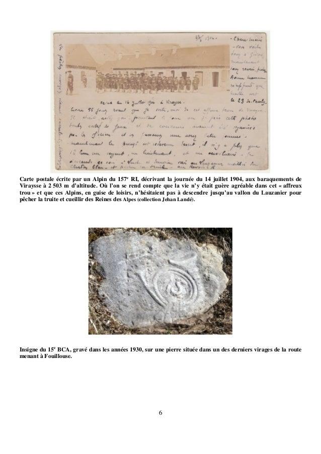 6 Carte postale écrite par un Alpin du 157e RI, décrivant la journée du 14 juillet 1904, aux baraquements de Viraysse à 2 ...
