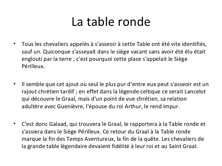 Histoire des courants litt raires - Recherche sur les chevaliers de la table ronde ...
