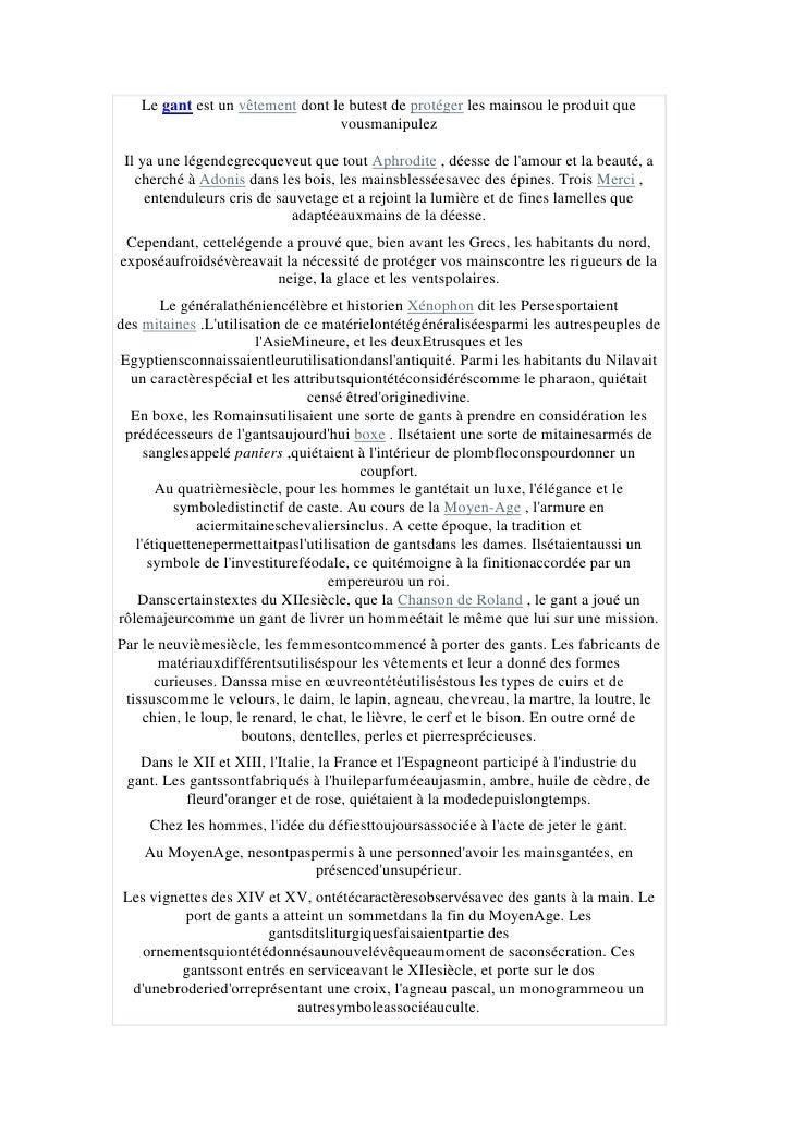 "Legantest un HYPERLINK ""http://es.wikipedia.org/wiki/Indumentaria"" o ""Indumentaria"" t ""_blank"" vêtementdont le but est..."