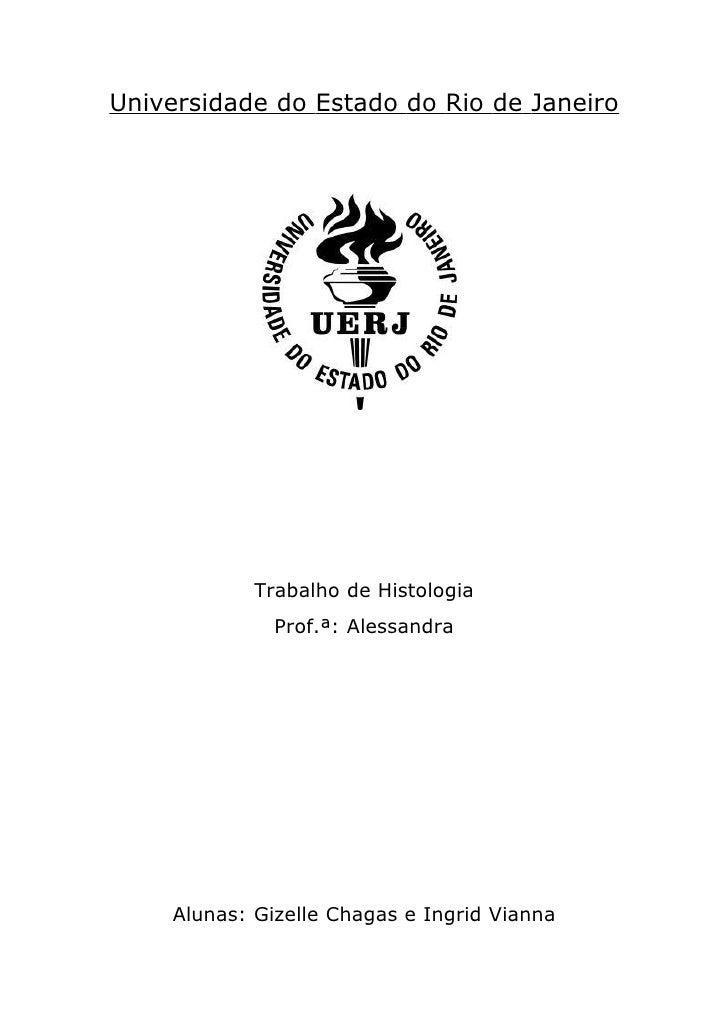Universidade do Estado do Rio de Janeiro            Trabalho de Histologia              Prof.ª: Alessandra    Alunas: Gize...
