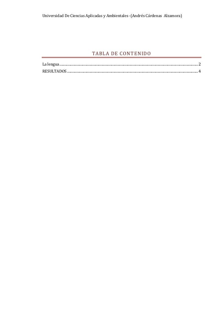 """Tabla de contenido TOC o """"1-3"""" h z u La lengua PAGEREF _Toc286921407 h 2RESULTADOS PAGEREF _Toc286921408 h 3<br /> <br />L..."""