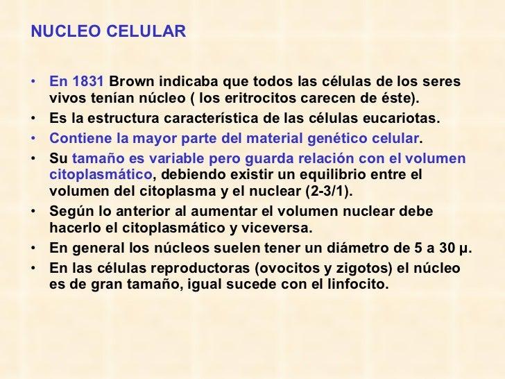 NUCLEO CELULAR <ul><li>En 1831  Brown indicaba que todos las células de los seres vivos tenían núcleo ( los eritrocitos ca...