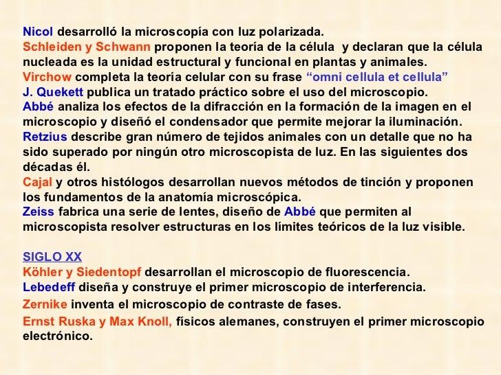 Nicol  desarrolló la microscopía con luz polarizada.  Schleiden y Schwann  proponen la teoría de la célula  y declaran que...