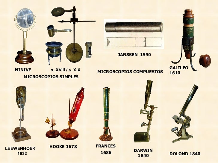 NINIVE JANSSEN  1590 GALILEO  1610 LEEWENHOEK  1632 HOOKE 1678 FRANCES 1686  s. XVIII / s. XIX DARWIN 1840 DOLOND 1840 MIC...