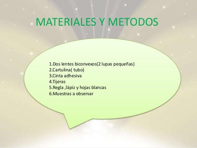 MATERIALES Y METODOS 1.Dos lentes biconvexos(2 lupas pequeñas) 2.Cartulina( tubo) 3.Cinta adhesiva 4.Tijeras 5.Regla ,lápi...