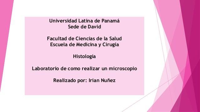 Universidad Latina de Panamá Sede de David Facultad de Ciencias de la Salud Escuela de Medicina y Cirugía Histología Labor...