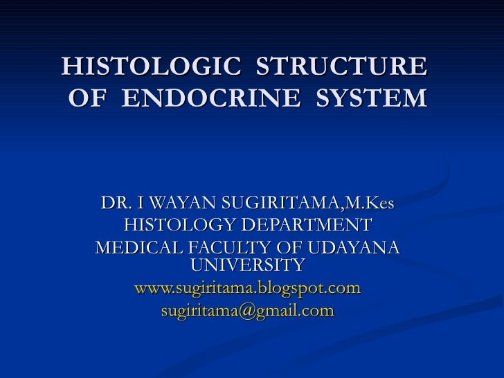 HISTOLOGIC  STRUCTURE  OF  ENDOCRINE  SYSTEM DR. I WAYAN SUGIRITAMA,M.Kes HISTOLOGY DEPARTMENT MEDICAL FACULTY OF UDAYANA ...