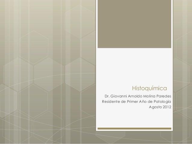 Histoquímica Dr. Giovanni Arnoldo Molina ParedesResidente de Primer Año de Patología                         Agosto 2012