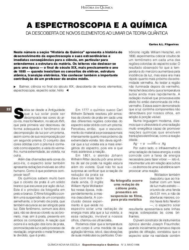 HISTÓRIA DA QUÍMICA              A ESPECTROSCOPIA E A QUÍMICA             DA DESCOBERTA DE NOVOS ELEMENTOS AO LIMIAR DA TE...