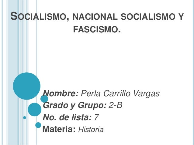 SOCIALISMO, NACIONAL SOCIALISMO YFASCISMO.Nombre: Perla Carrillo VargasGrado y Grupo: 2-BNo. de lista: 7Materia: Historia