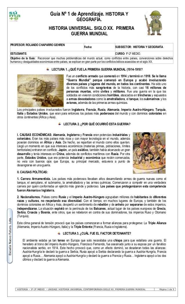 Nivelación 1º y 2º Medio: Primera Guerra Mundial