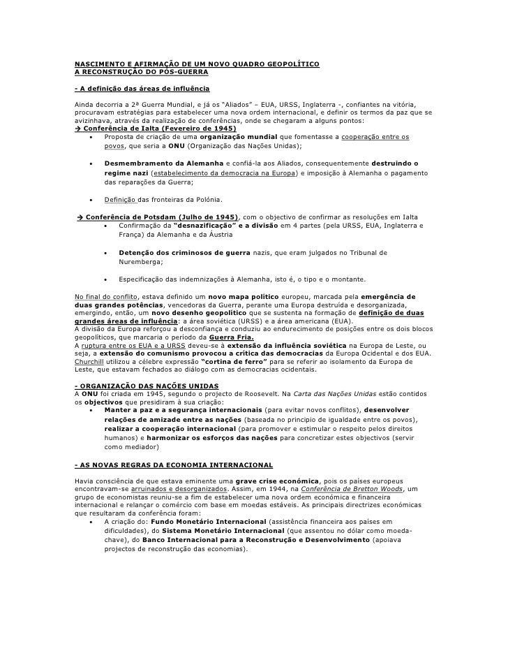 NASCIMENTO E AFIRMAÇÃO DE UM NOVO QUADRO GEOPOLÍTICOA RECONSTRUÇÃO DO PÓS-GUERRA- A definição das áreas de influênciaAinda...
