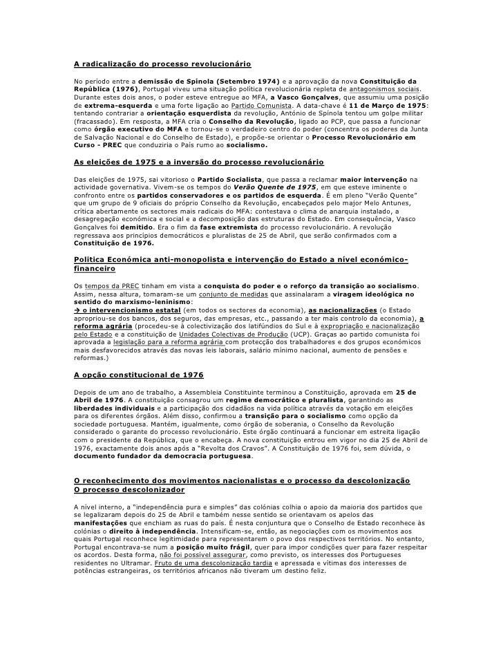 A radicalização do processo revolucionárioNo período entre a demissão de Spínola (Setembro 1974) e a aprovação da nova Con...