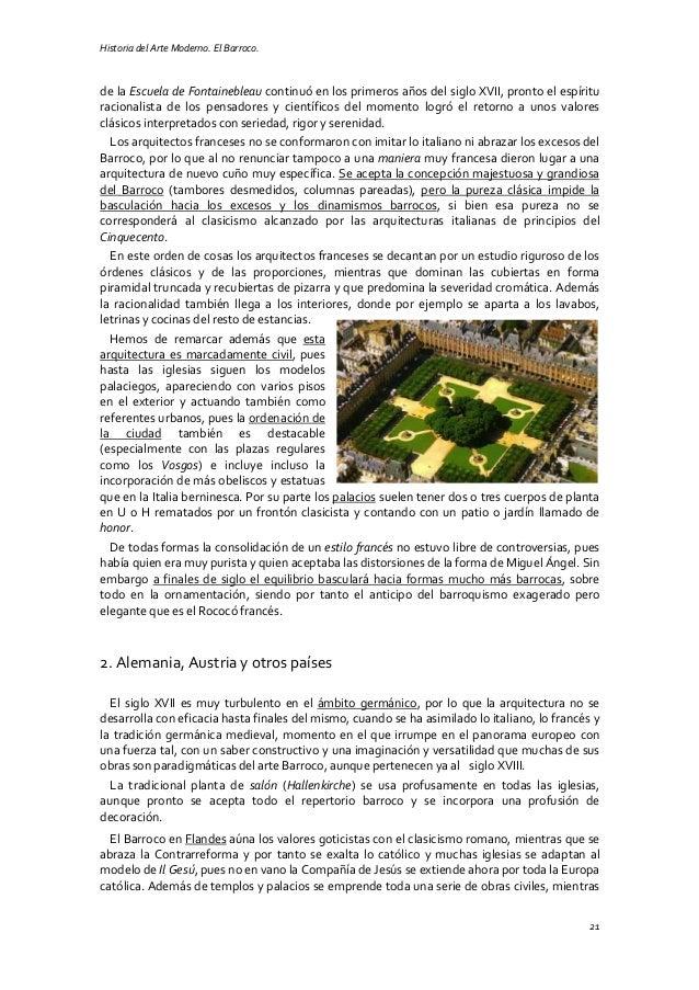 Historia del Arte Moderno. El Barroco. 21 de la Escuela de Fontainebleau continuó en los primeros años del siglo XVII, pro...