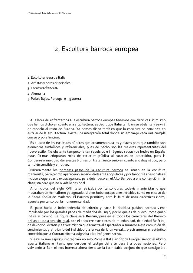 Historia del Arte Moderno. El Barroco. 9 2. Escultura barroca europea 1. Escultura fuera de Italia 2. Artistas y obras pri...
