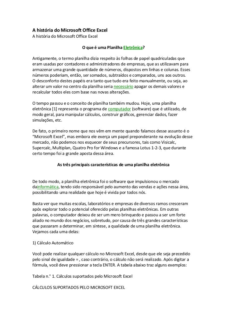 AhistóriadoMicrosoftOfficeExcelAhistóriadoMicrosoftOfficeExcel                                              ...