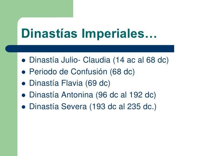 Resultado de imagen de dinastias imperiales roma