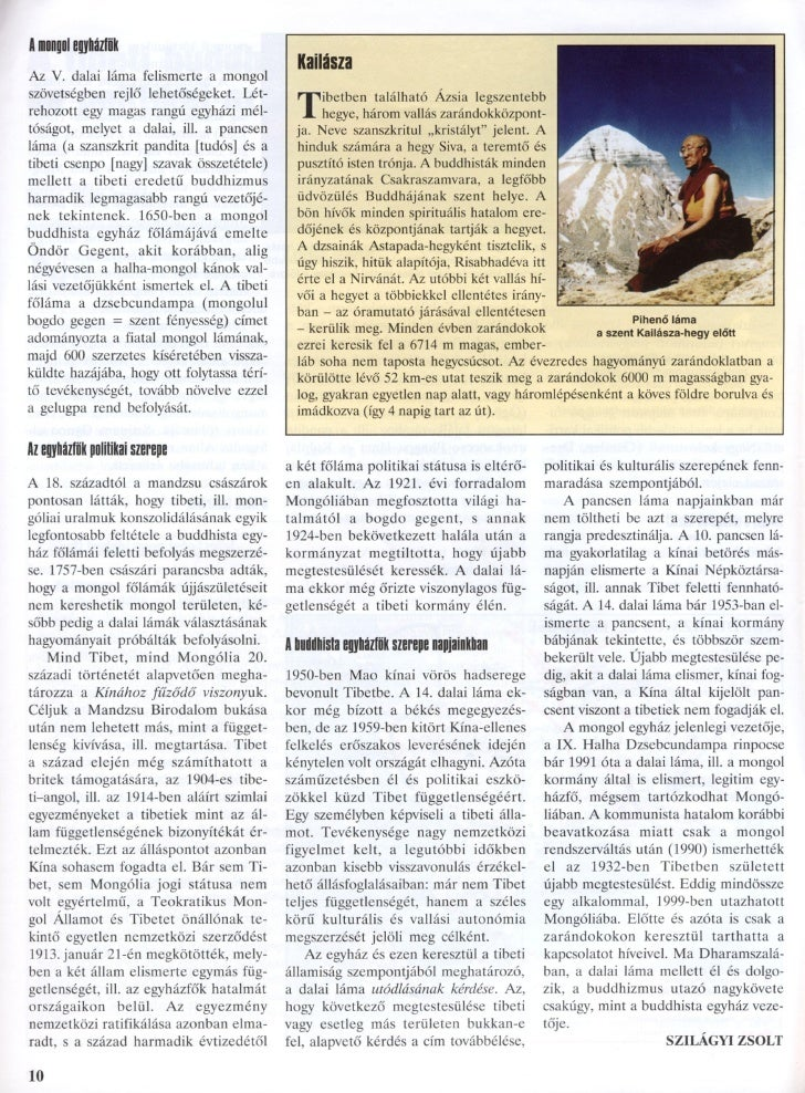 Szilágyi Zsolt: A tibeti buddhizmus és politikai szerepe Slide 3