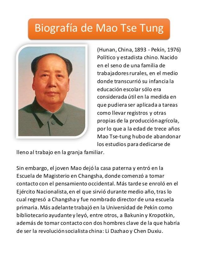 (Hunan, China,1893 - Pekín, 1976) Político y estadista chino. Nacido en el seno de una familia de trabajadores rurales, en...