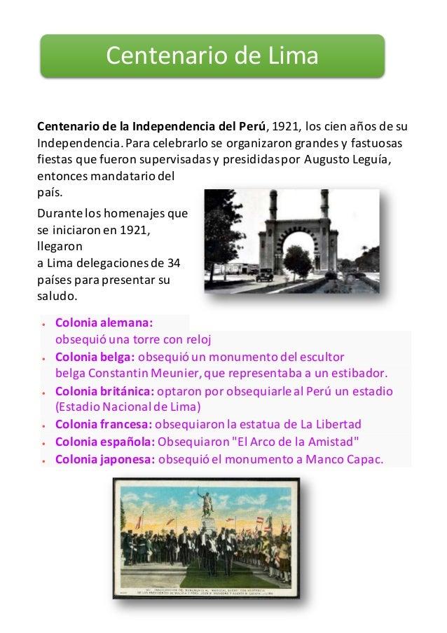 Centenario de la Independencia del Perú, 1921, los cien años de su Independencia.Para celebrarlo se organizaron grandes y ...